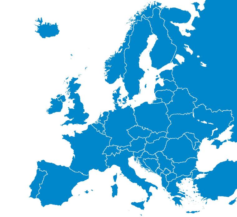 Map of the Europe where RFID Europe operates
